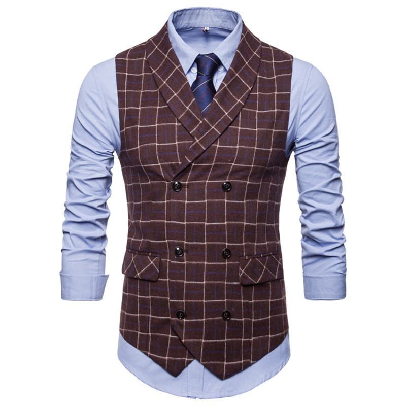 Suit vest autumn new mens double-breasted plaid suit S-4XL self-cultivation business casual large size