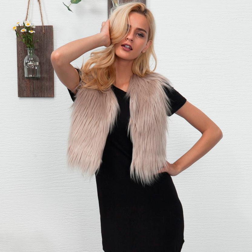 JAYCOSIN 2018 faux fur coat women solid Sleeveless Vest Waistcoat Jacket Gilet Shrug Coat Outwear j19