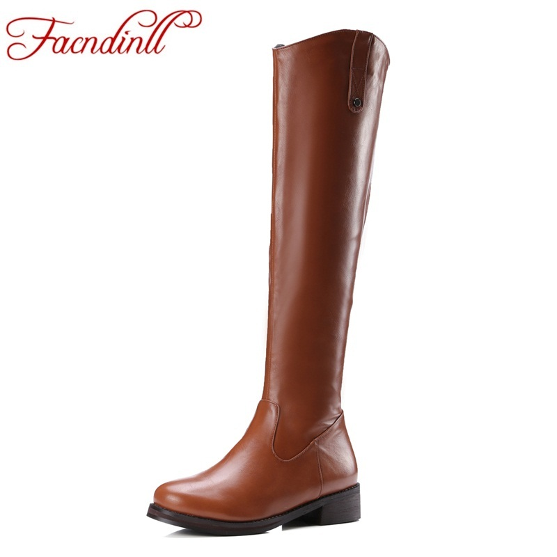 new pu leather shoes women knee high boots low thick heels autumn winter boots platform riding boots ladies long boots Plus size