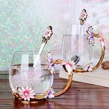 Creative Vintage Enamel Glass Cups Handgrip Crystal Flower Tea Coffee Cup lemon drinking glasses Heat-resistant glass Drinkware