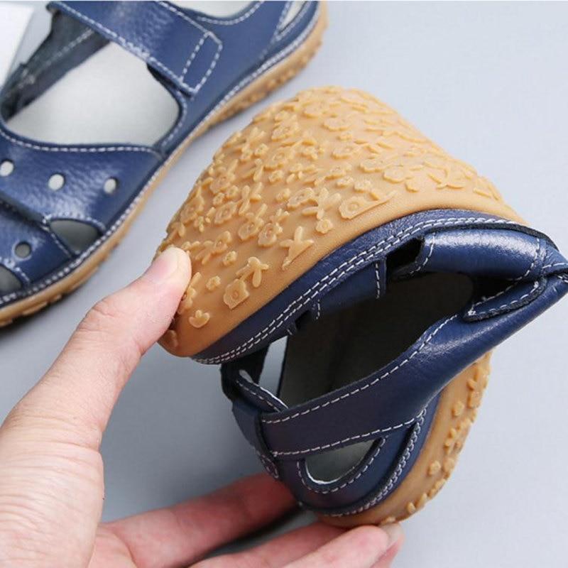 Image 5 - Women Sandals Plus Size Split Leather Soft Bottom 2019 Summer Flat Shoes Woman Leisure Sandal Cut out Mothers Sandalias SH060401Low Heels   -