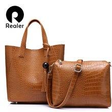 4eb94c7cf8e64 REALER marka 2 sztuk/zestaw torba kobieca duża torebka z frędzlem ze  sztucznej skóry torba na drobiazgi kobiet mała torba na ram.