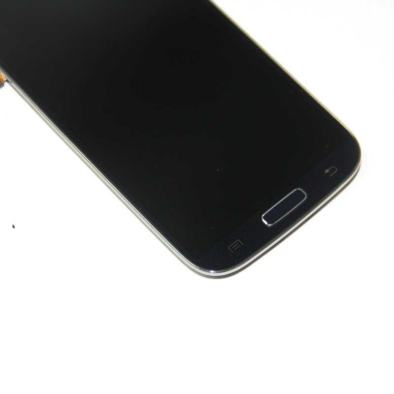 شاشة الكريستال السائل لسامسونج غالاكسي S4 GT-i9500 i9505 i337 LCD مجموعة المحولات الرقمية لشاشة تعمل بلمس مع الإطار الأزرق الأبيض