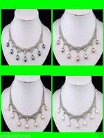 Hot sale JJewelry 4 PCS Black Pink White Purple Pearl Necklace
