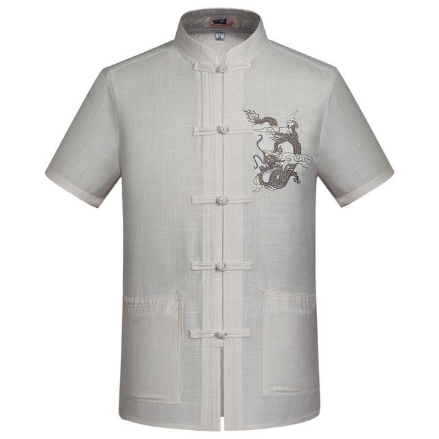 Novo Chinês Linho Bordado dos homens Dragão Kung Fu Shirt Verão Wu shu tops manga curta clothing tamanho s m l xl xxl XXXL