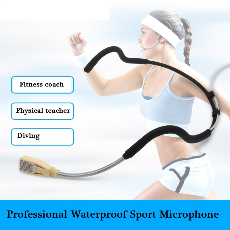 Bolymic Waterproof microphone Headset Waterproof Microphone for Exercise Fitness 3 Pin Systems