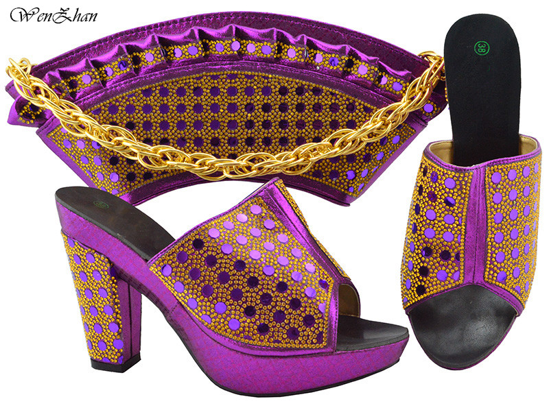 Latest african wedding shoes and bag set for women ladies purple shoes with  matching bags set b2f71c2b9a69