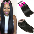8A Straight Hair With Closure 360 Lace Frontal With Bundles Peruvian Virgin Hair Straight Weaves Human Hair Bundles With Closure