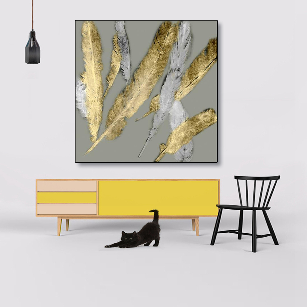 Laeacco Nordic Canvas Painting Calligraphy Golden Feathers Posters And Prints Wall Art Pictures For Living Room Home Decoration