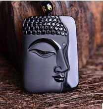 Black 100% Natural A Obsidian Carved guan yin Necklaces pendant beautif