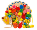 Wooden Fruit Hedgehog Creative Threading Beads Building Lacing Blocks Kids Children Early Educational Toys