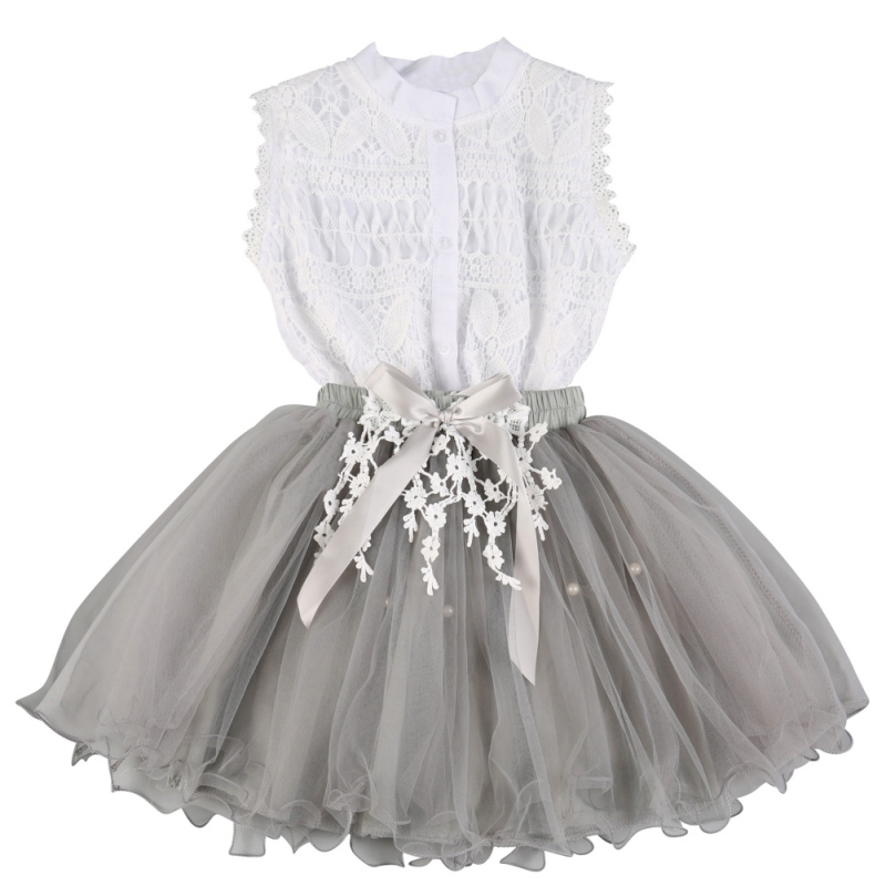 summer style Girls clothing set baby girls clothes Sets Lace Apparel T Shirts + Flower Skirts Suits Kids Girls Skirt Pullover S