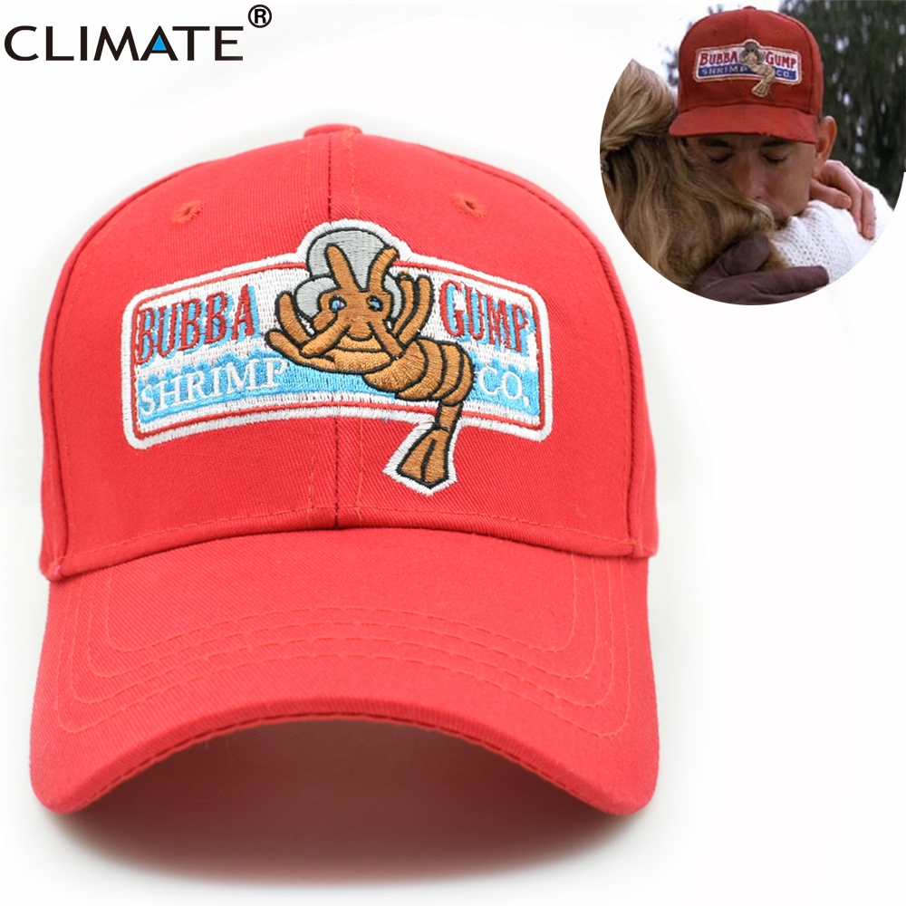 CLIMATE Forrest Gump Recover Cosplay Running Baseball Snapback Caps Women Men BUBBA GUMP Sport Outdoor Cotton Red Black Caps Hat