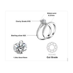 Image 5 - JPalace CZ zestaw pierścionków zaręczynowych 925 srebro pierścionki dla kobiet rocznica obrączki obrączki zestawy ślubne srebro 925 biżuteria