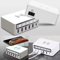 USB 5 port Charger Multifunctional Fast Charging Adapter with Line Screen for Mobile Phone Home, Casual Tablet