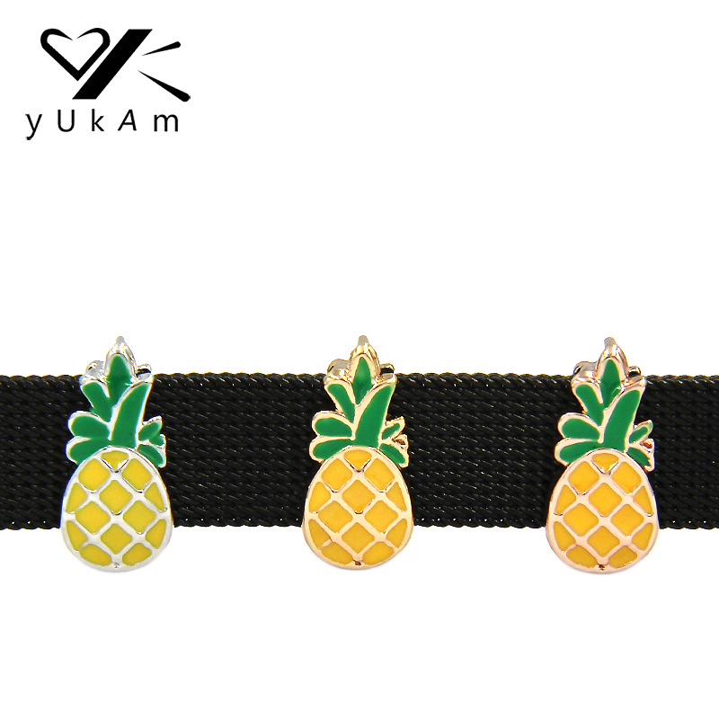 YUKAM Yellow Enamel Fruit Pineapple Ananas Slider Charms Keeper for Leather Wrap Mesh Keeper Bracelet Jewelry Accessories Making