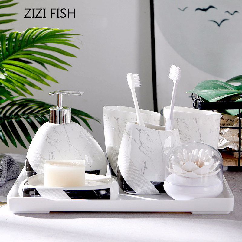 Imitation Marble Ceramics Bathroom Accessories Set Geometric Soap Dispenser Toothbrush Holder Tumbler Soap Dish Bathroom Gift