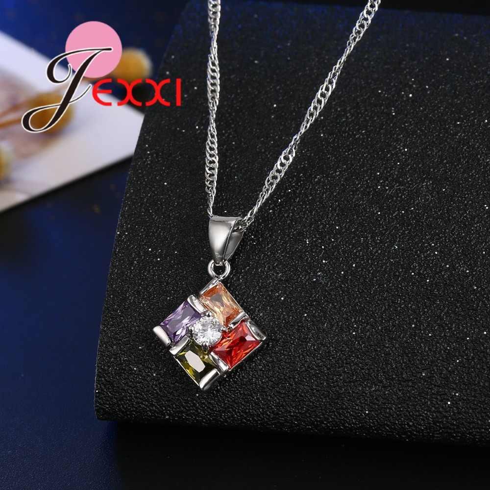 Mulitcolor Zirkone 925 Sterling Silber Wunderschöne Hochzeit Schmuck-Sets Frauen Quadrat Anhänger Halskette Hoop Ohrringe Sets