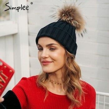 Simplee lông Có Thể Tháo Rời súng đại bác tự Bobble mũ cho phụ nữ skullies beanies thả Ấm hat 2018 mùa thu mũ mùa đông nữ
