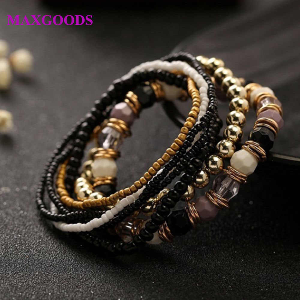 7 Pcs/Set Four Seasons Bohemian Multi-layer Beaded Jewelry and Women Elastic Bracelet 2019 New