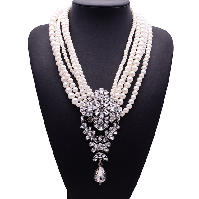 Long-Pearls-Beads-Chain-Choker-Crystal-Statement-Necklace