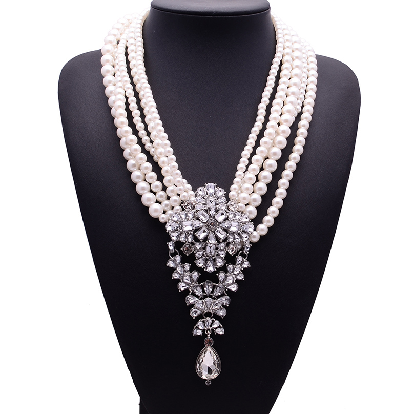 2017 New Fashion XG233 Luxury Necklaces & Pendants Long Pearls Beads Chain Choker Crystal Statement Necklace Droplets Jewelry