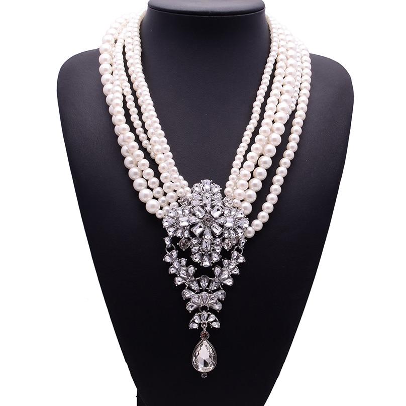 Prix pour 2017 nouvelle mode xg233 de luxe colliers et pendentifs longue perles perles chaîne choker cristal déclaration collier gouttelettes bijoux