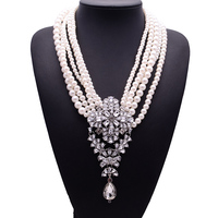 2015 New Fashion XG233 Luxury Necklaces Pendants Long Pearls Beads Chain Choker Crystal Statement Necklace Droplets