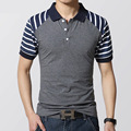 2016 New Men's Short Sleeve shirt Cotton Slim Fit Men's Polo Shirt Striped Shirt for Men Tops Tee Size M L XL 2XL 3XL
