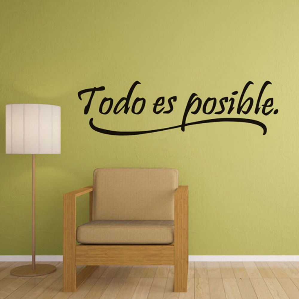 1Pc Everything Is Possible Spanish Inspiration Quotes Wall Sticker ...