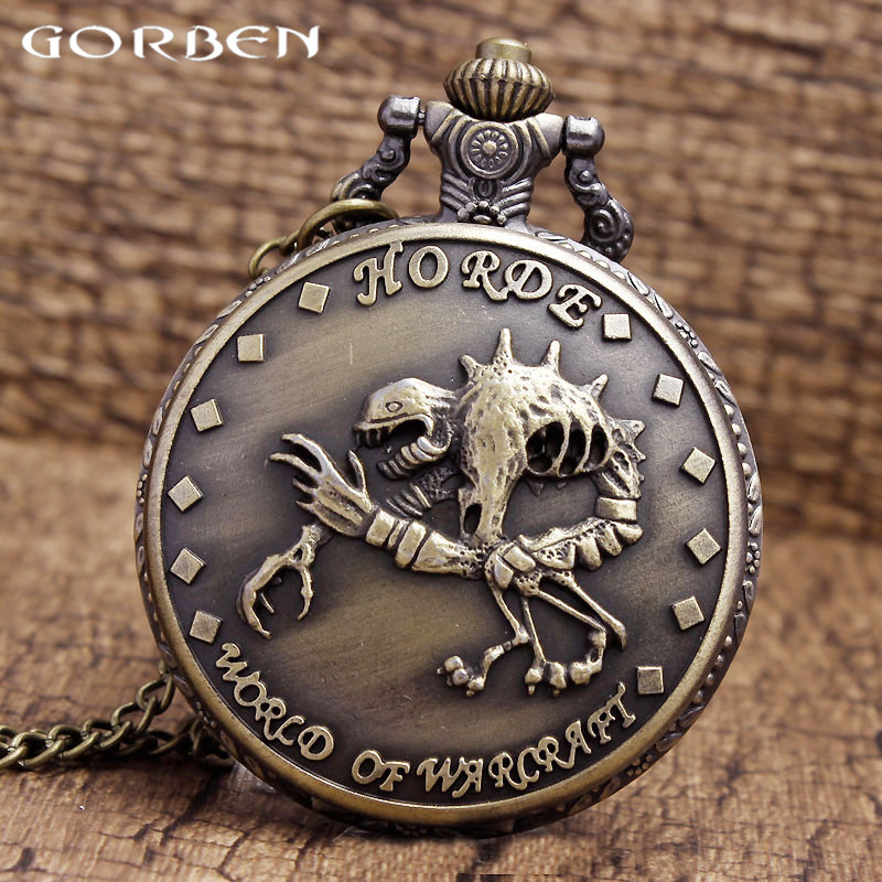 The Horde For World Of Warcraft Cool Design Case Quartz Pocket Watch With Necklace Chain Skull Pendant Antique Women Men Watches Fine Workmanship Watches