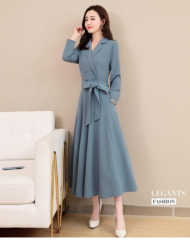Spring and Autumn 2019 New Women's Dresses Korean Edition Long Sleeve Dresses Overlap Long Popular Temperament with Bottom 121