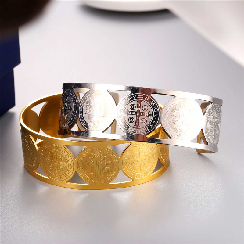 Collare Saint Benedict Medal Bangles 316L Stainless Steel Men Jewelry Gold Color St Benedict Medal Cuff Bracelets Women H162 5
