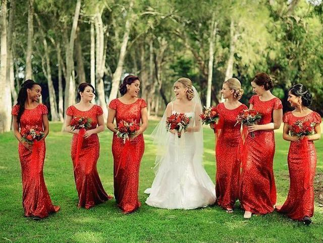2016 Hot Selling Short Sleeve Scoop Neck Long Sheath Sequins Red Bridesmaid Dresses vestidos de festa Party Gowns Custom B101
