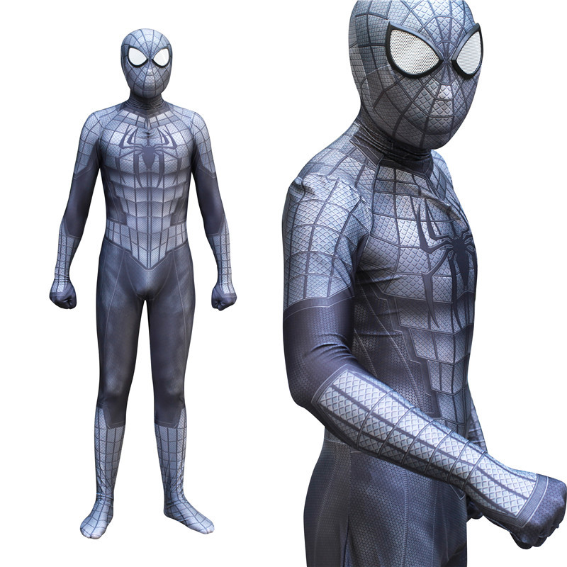 Halloween Spider Man Costume Suit Adult Men Black Homecoming Venom Iron Spiderman Cosplay Spandex Jumpsuit Mask with Lens