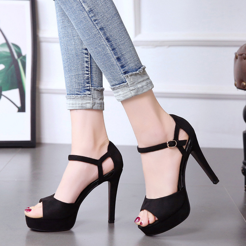 thin-heeled openwork hasp sandals super high-heeled waterproof platform women's shoes fish-mouth shoes high heels sandals women