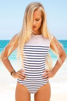 Free Ship NEW One Piece Women Swimsuit 2017 Bikini WHITE Stripe Bodysuit Swimwear Backless Brazilian Push