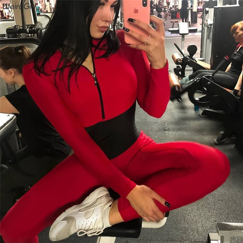 Weirdgirl Women New Bodysuit Casual Fashion Fitness Jumpsuit Long Sleeve Full Length Slim Skinny Solid Color Zipper Stracksuit
