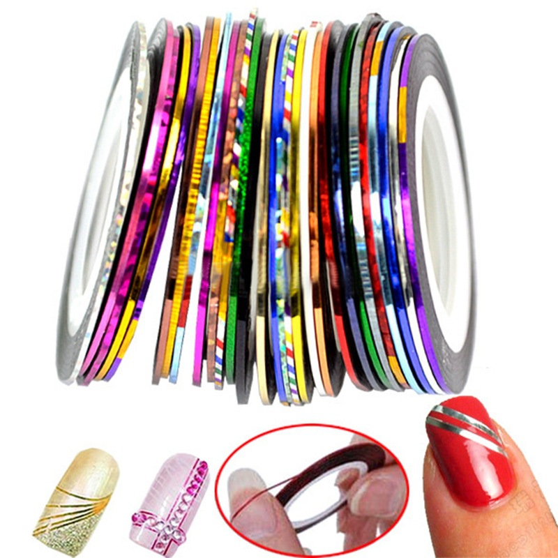30pcs Rolls Striping Tapes Colorful Line Nail Stickers DIY Nail Art Kit Manicaure Beauty decorations for UV Gel Nail Polish 8pcs lot 1mm colorful nail striping tape line women nail art stickers decals diy manicure tools nail tips decorations wy631