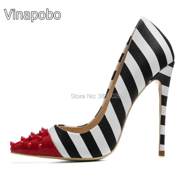 2018 Zebra Stripes High Heel Shoes Woman Rivet Pointed Toe Patent Leather  Patchwork 12CM Heeled Pumps 1640dac11c68