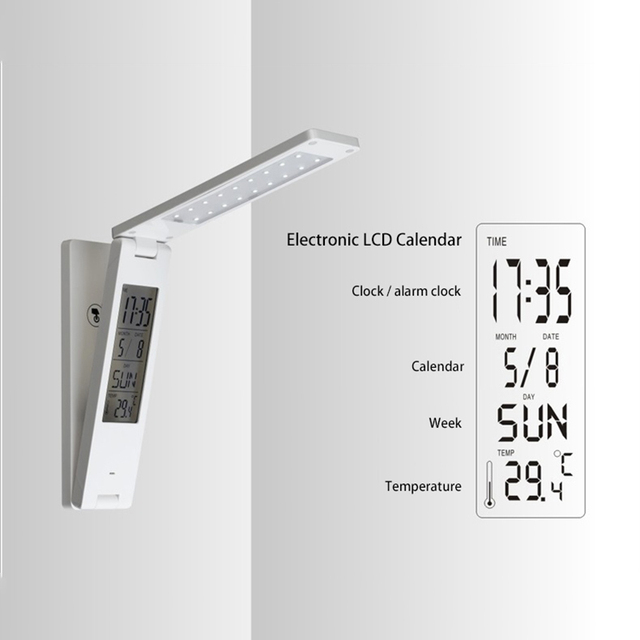 Electronic Calendar Clock Table Lamp Folding Portable Lamp Kids - Touch lights for bedroom