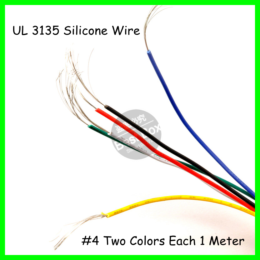 UL 3135 2Meters/lot Black+Red 4AWG Flexible Silicone Wire for RC Lipo Battery Connect eken ch