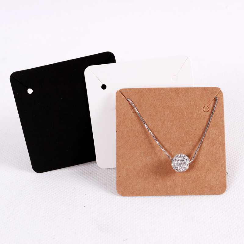 50Pcs/lot 5x5cm Blank Kraft Paper Jewelry Display Necklace Cards Favor Label Tag For Jewelry Making Diy Accessories Wholesale