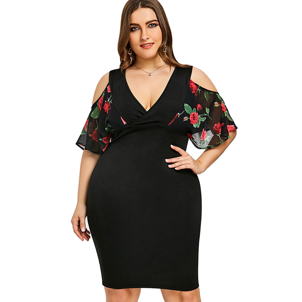Plunge Neck Half Sleeve Cold Shoulder Floral Print Women Bodycon Dress 2018 Summer Female Casual Plus Size 5XL Vestidos Femme