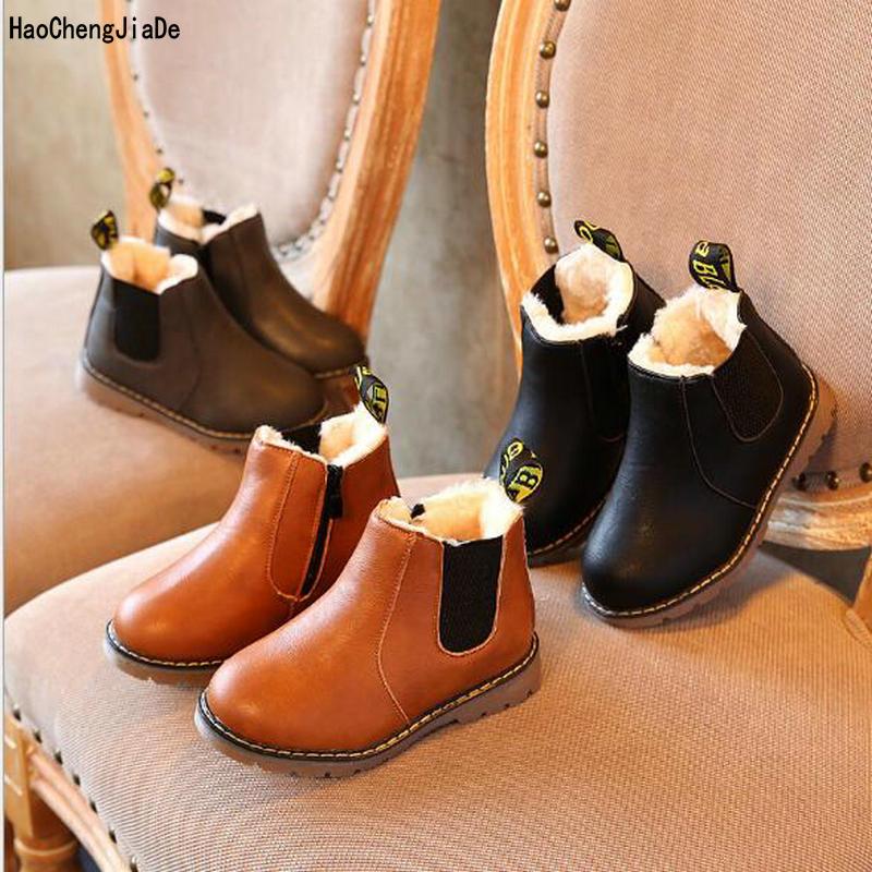 Mode Kinder Stiefel Herbst Winter Neue Handgemachte Komfortable Mädchen Stiefel Leder Martin Jungen Stiefel Mode Kinder Schuhe