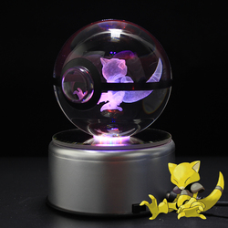 Dropping Abra Design Figurines Crystal Poke Ball 3D Pokemon Miniatures Christmas Gifts