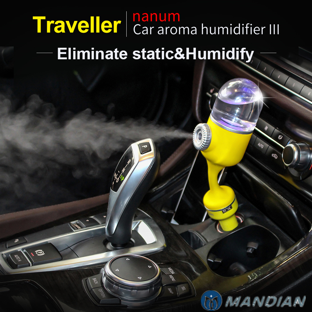 NEW 2018 Nanum Car Aroma Humidifier Cool mist diffuser Car Air Freshener Purifier with Dual USB port Ultrasonic Aromatherapy car outlet perfume air freshener with thermometer lime