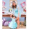 Sky Light Blue Lace madre e hija vestido de la familia Mathing mangas largas de tela mamá hija vestido de dos 2 unidades vestidos baile