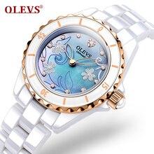 Nuevos relojes de cerámica mujeres reloj de vestir reloj de pulsera señora de cuarzo reloj resistente al agua relojes de oro de diamantes de cristal de lujo de la marca olevs