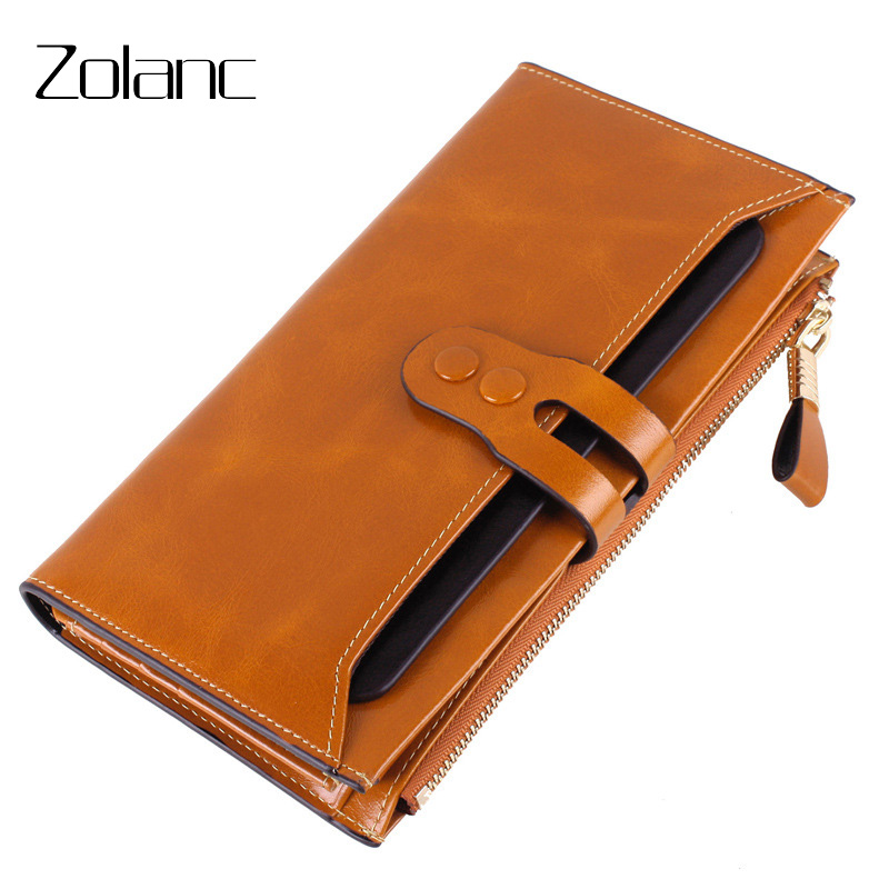 Zolanc RFID Woman Wallet Genuine Leather Hasp The First Layer Of Leather Long Section Wallet Coin Purse For Women Clutch